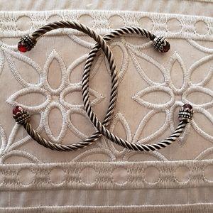 2 Vintage Ruby & Amethyst Sterling silver bangles